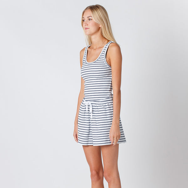 Five Each Classic Rib Tank in White/Navy Stripe Rib