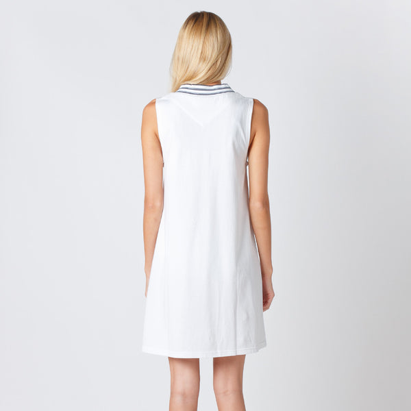 Five Each Daytime Dress - White with Stripe Rib