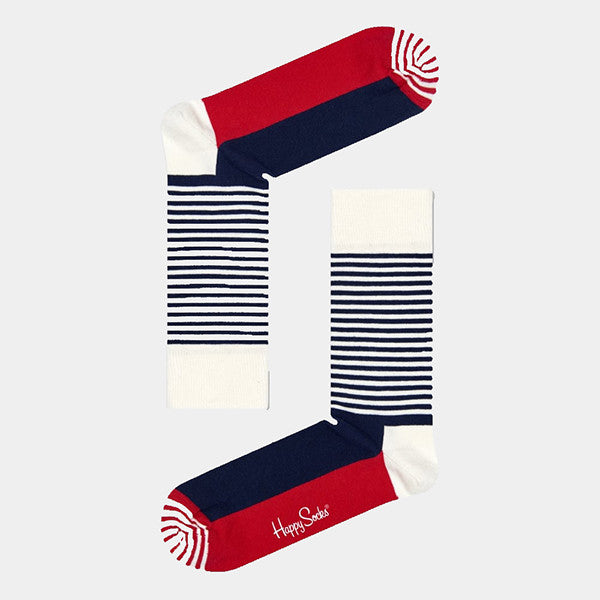 Happy Socks Stripe Half Socks - Navy