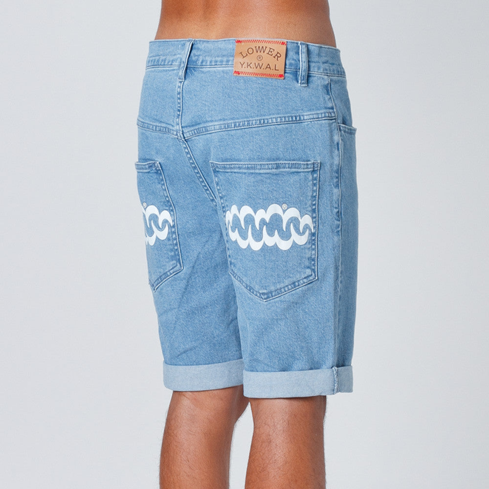 Lower Unisex Leaner Shorts in Lightwashed