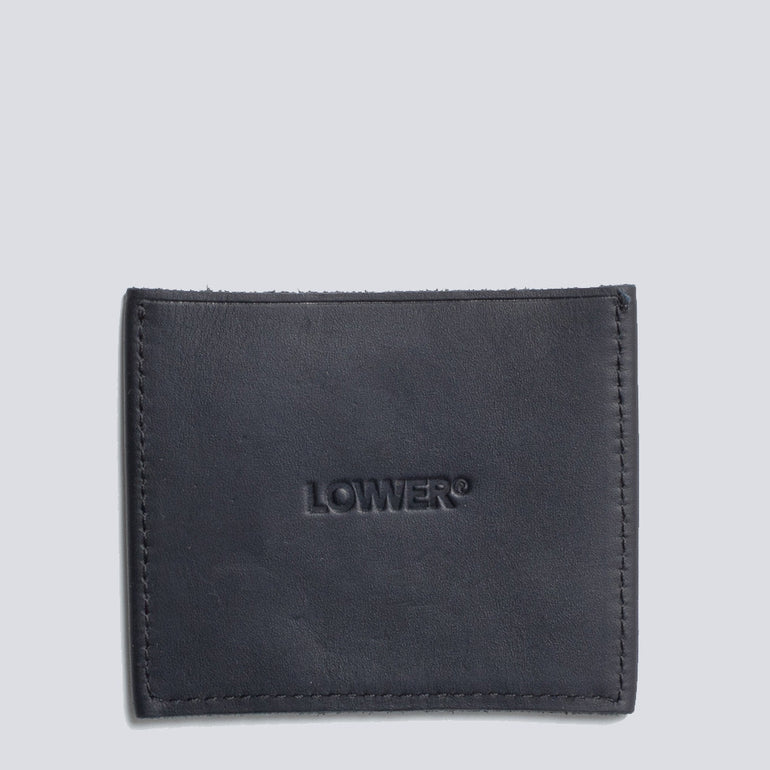 Lower Genuine Leather Slip Wallet - Black