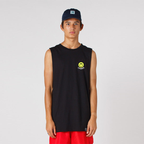 Lower Cut Tank / Don't Worry - Black