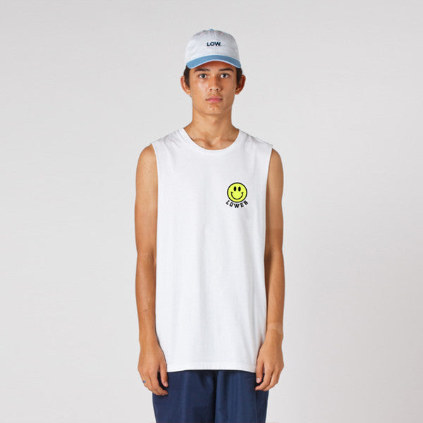 Lower Cut Tank / Don't Worry - White