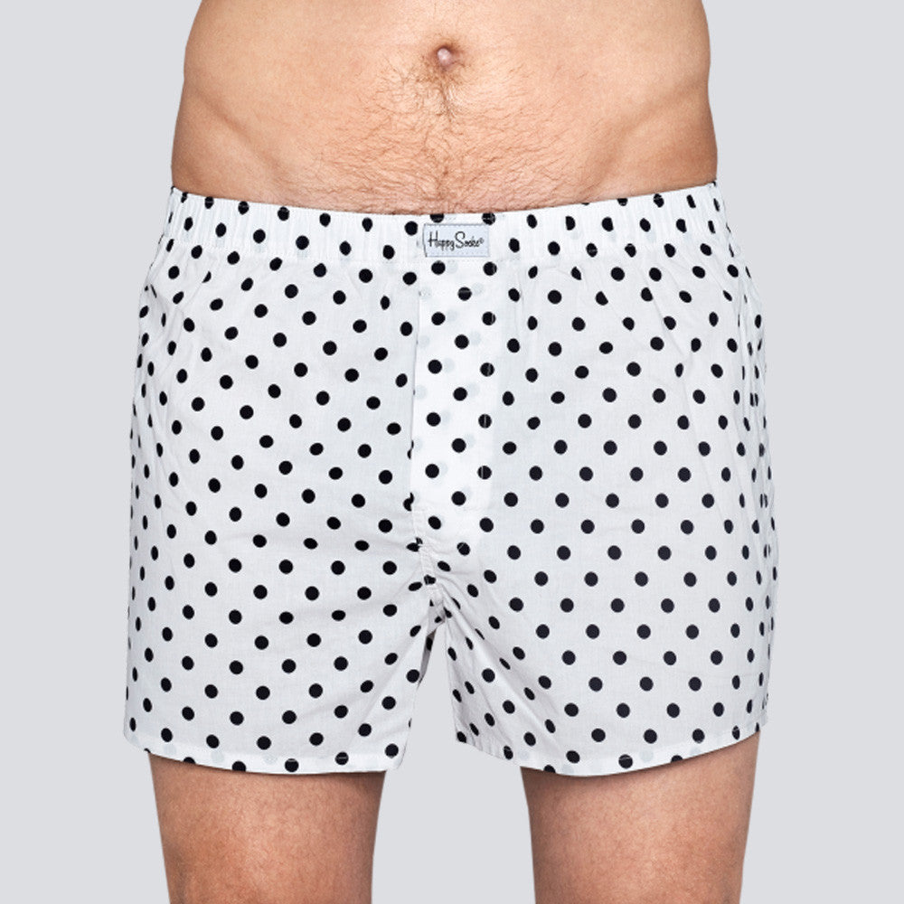 Happy Socks Dot Boxer - White/Black