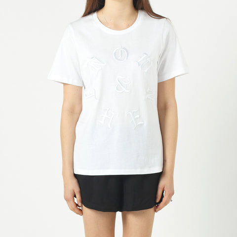 Now & Then Daily Tee Old English (Embroidered) - White