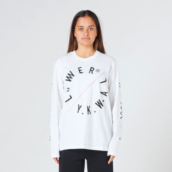 Lower Relax L/S Tee / Slash (Embroidered) - White