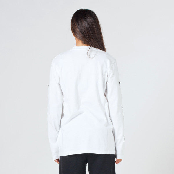Lower Relax L/S Tee / Slash (Embroidered) in White