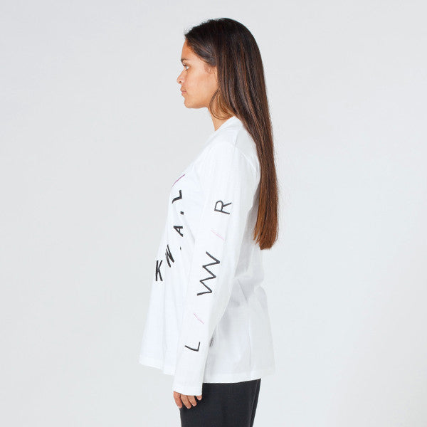 Lower Relax L/S Tee - Slash (Embroidered) White
