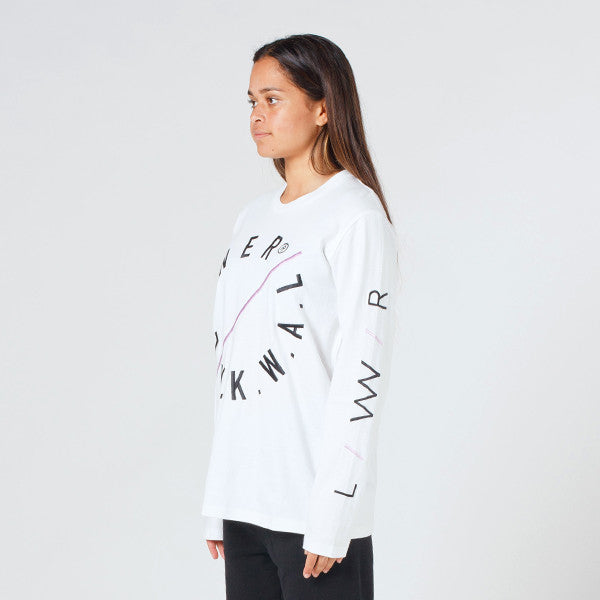 Lower Relax L/S Tee - Slash (Embroidered) in White