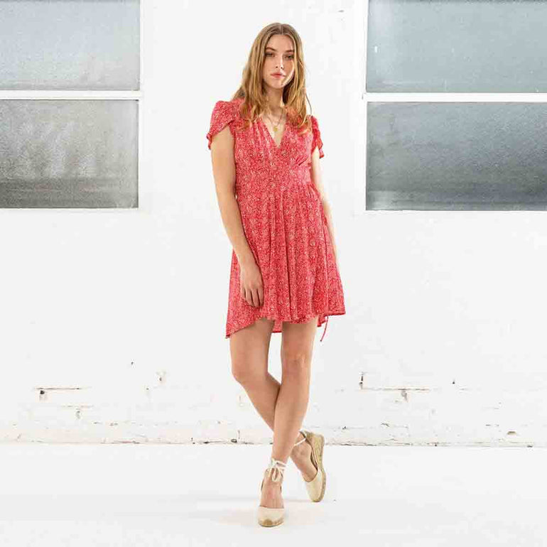 Dancer Wrap Dress in Strawberry by Rollas