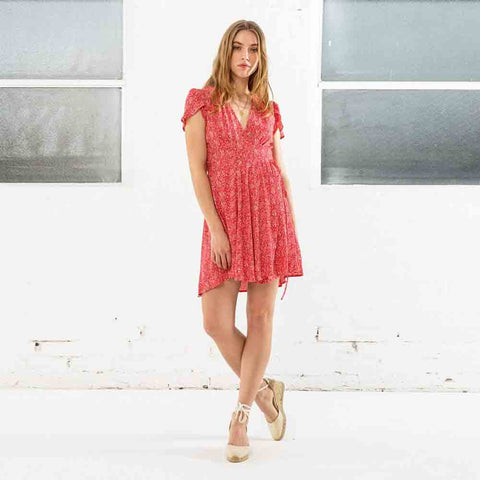 Rollas Dancer Wrap Dress - Strawberry