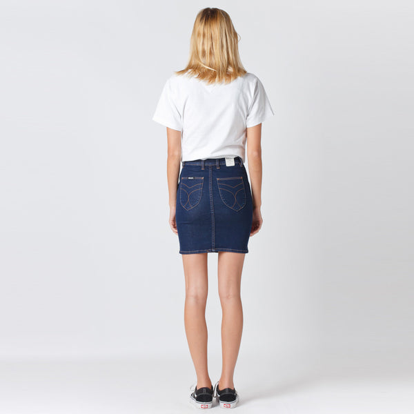 Denim Mini Skirt in Liberty Blue by Rollas