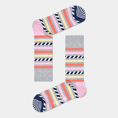 Happy Socks Stripe & Stripes Socks - Grey