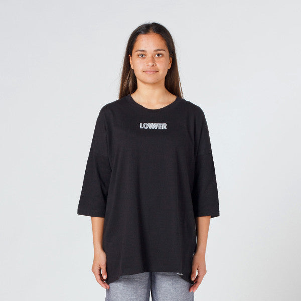 Lower Slouchy Drop Tee / Licorice (Embroidered) - Black