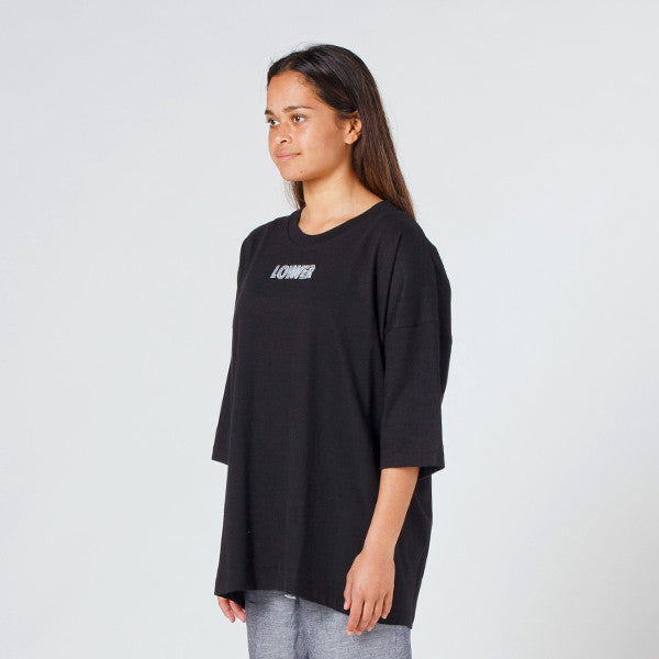 Lower Slouchy Drop Tee / Licorice (Embroidered) in Black