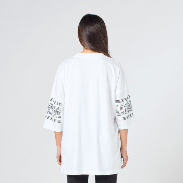 Lower Slouchy Drop Tee / Licorice White