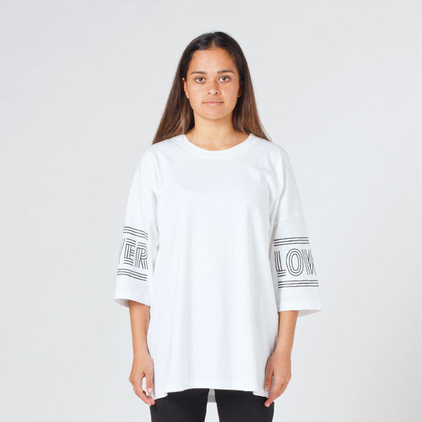 Lower Slouchy Drop Tee / Licorice - White