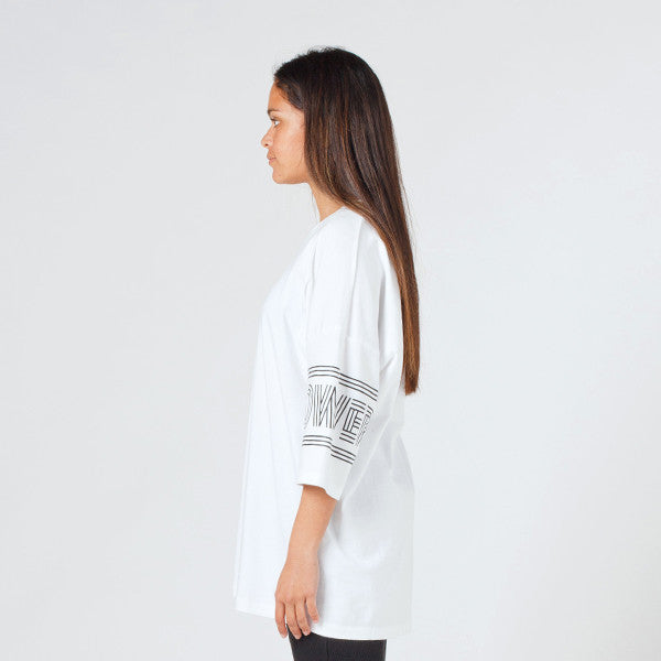Lower Slouchy Drop Tee / Licorice (White)
