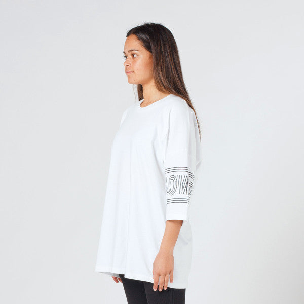 Lower Slouchy Drop Tee / Licorice in White