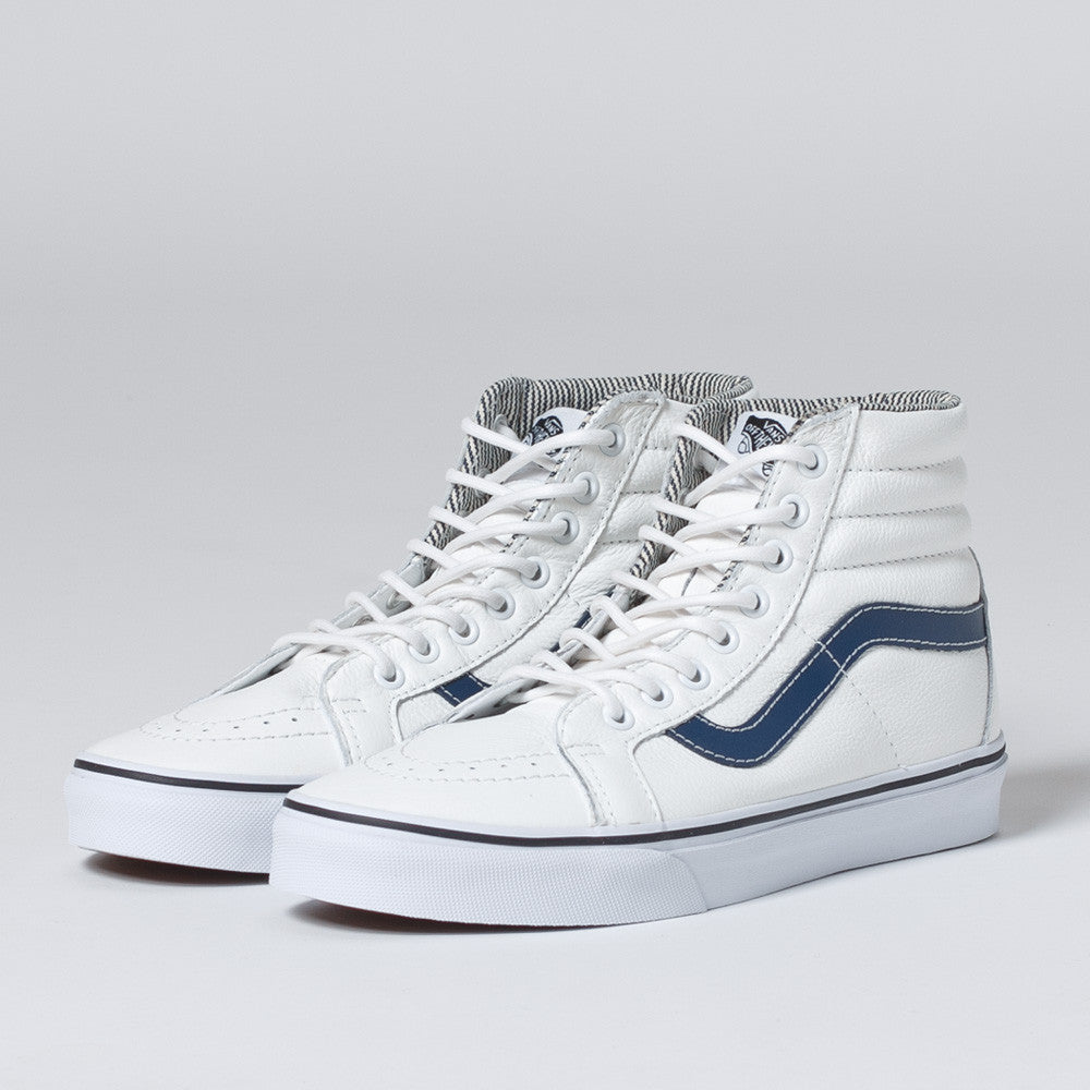 Vans Sk8-Hi Reissue Leather in White/Stripe