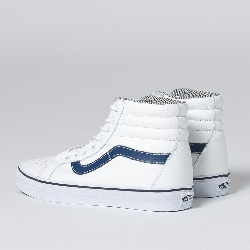 Sk8-Hi Reissue Leather by Vans in White/Stripe