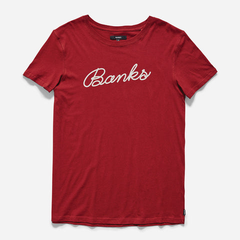 BANKS Script Tee Shirt - Syrah Red