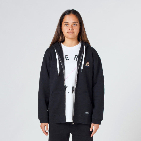 Lower Zip Hood 'Rex' (Embroidered) - Black