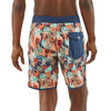 Men's Scallop Hem Stretch Wavefarer Boardshorts - 18 In. - Rain Fern Multi: Tasmanian Teal