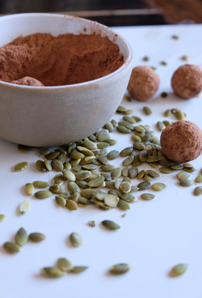 PMS relieving raw cacao and pumpkin seed truffles for women