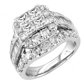14K 3.00CT BRIDAL DIAMOND SET WHITE GOLD PRINCESS CUT