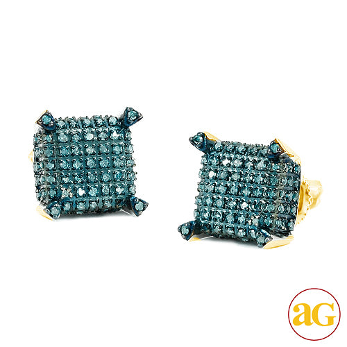 10KY 0.65ctw Blue Diamond Dice Earrings
