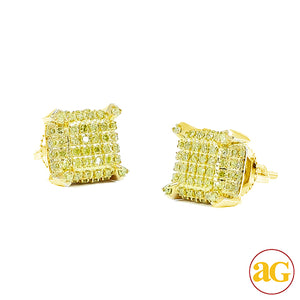 10KY 0.40ctw Yellow/Green Diamond Dice Earrings