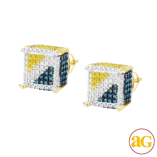 10KY 0.65ctw Blue, White, and Yellow Diamond Dice Earrings