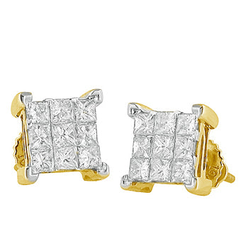 10KY 1.00ctw Diamond Invisible Set Earrings