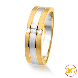 14KY+W 0.10CTW Diamond Two-Tone Mens 3-Stone Band