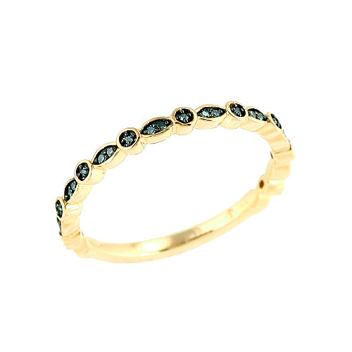 10K 0.10CTW Blue Diamond Stackable Band
