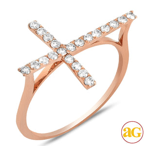 14KR 0.35ctw Diamond Designer Sideways Cross Ring