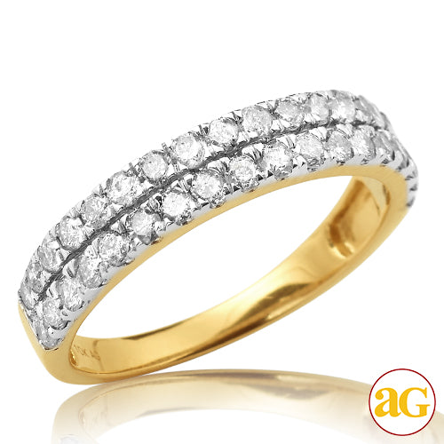 10KY 1.00ctw Diamond Two-Row Band Anniversary Band Yellow Gold