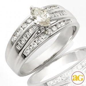 14KW 0.84ctw Diamond Bridal Ring [0.37CT MQ - J SI2] - E5006