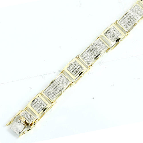 Mens 10KY 2.00ctw Diamond Bracelet Pave Setting Yellow Gold
