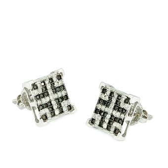 10KW 0.33ctw Black and White Diamonds V-Prong Earrings
