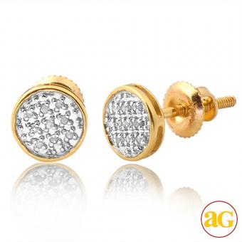 10KW 0.05ctw Diamond Round Flat Earrings