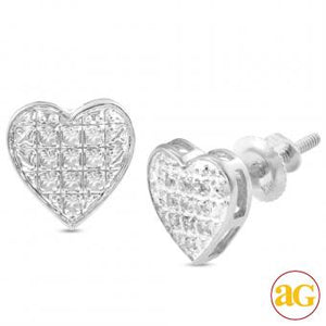 10KW 0.05ctw Diamond Heart Dome Earrings