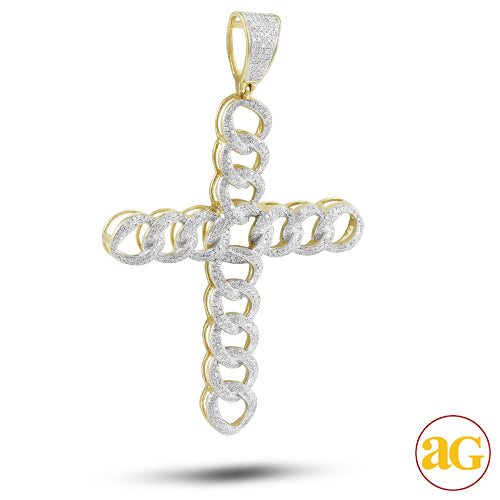10KY 2.00ctw Diamond Cuban Link Cross