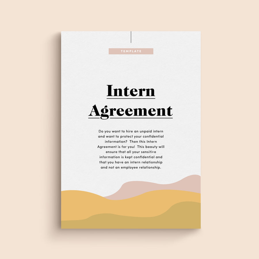Intern Agreement for hiring unpaid interns