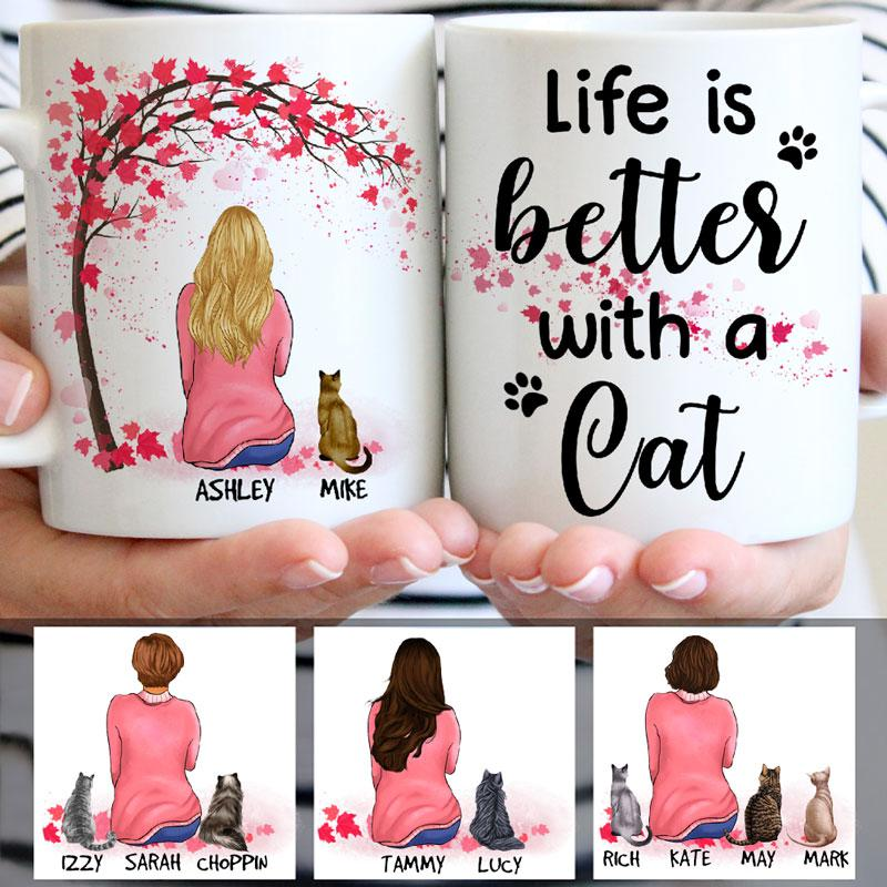 Life Is Better with Cats, Red Tree, Personalized Mugs, Custom Gifts for Cat Lovers