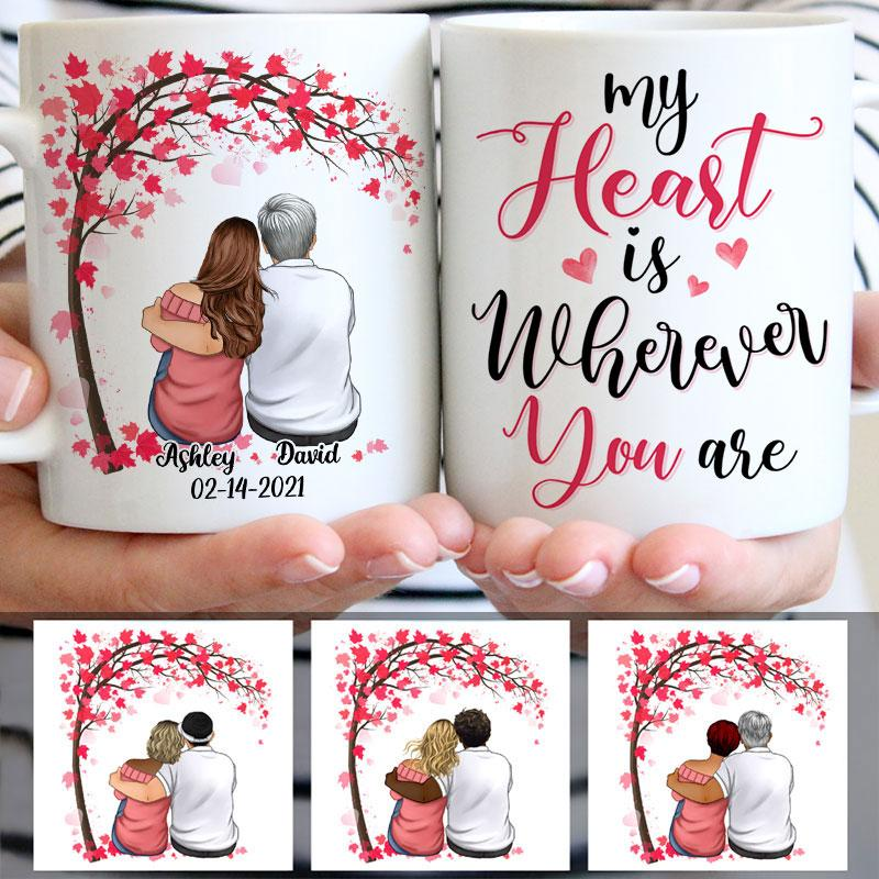 My Heart Is Wherever You Are, Couple Tree, Anniversary gifts, Personalized Mugs, Valentine's Day gift