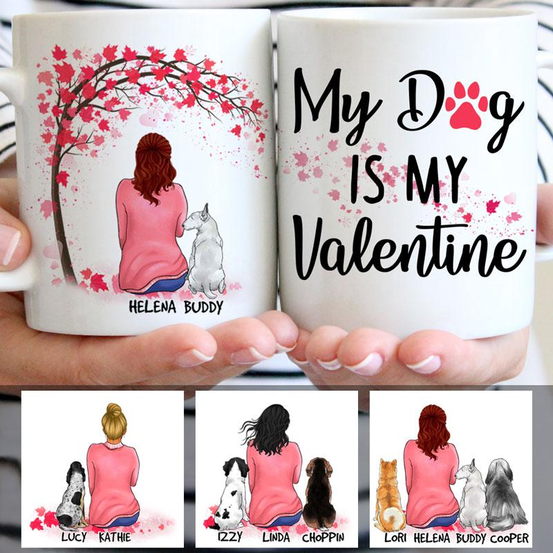 My Dog is my Valentine, Red Tree, Personalized Mugs, Custom Gifts for Dog Lovers