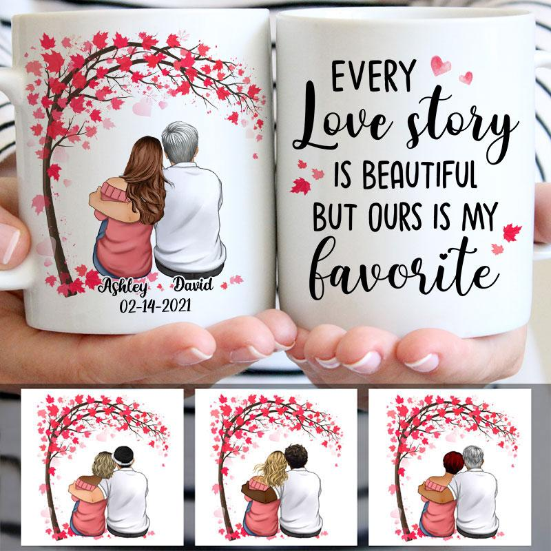 Every Love Story Is Beautiful, Couple Tree, Anniversary gifts, Personalized Mugs, Valentine's Day gift