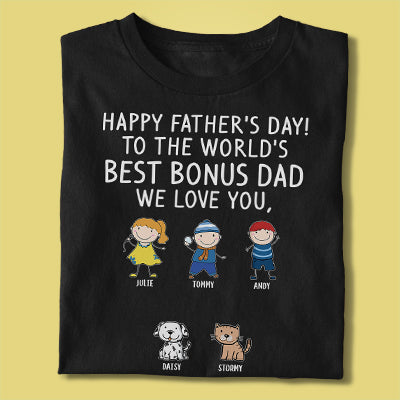 Happy Father's Day Best Bonus Dad, Custom Shirt, Personalized Father's Day Gift